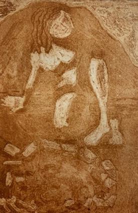 "Ariadne on Naxos, Etching, 8""x 6"", 2019"