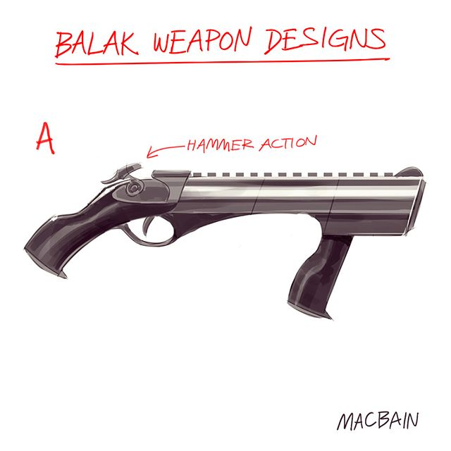 "The Balak is the weapon of choice for the galactic villain called Mogul. It's powered by an ore called ""Ouj"" that is mined on the planet Tscho and refined into a liquid. Please help us decide which of these prototypes will become the final design for the epic saga, Dawn of the Paladin. Written by Ralph Halverson. 🎨: @anthonymacbain  #dawnofthepaladin #webuildworlds #worldbuilding #tritoncityart #anthonymacbain #scifi #digitalart #art #sketch"
