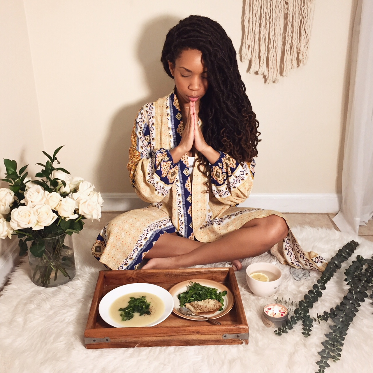 "Have you had a ""yogi meal""? This way of eating is approached in the same mindfulness as you would approach your practice.     •Find a quiet space where you won't have any distractions.    •No talking while chewing.    •Be grateful, take time to pray.    •One bite at a time, putting your fork down in between bites.    •Eat fresh plant based foods that feel good going into your body.     I have not always fully understood the concept of being plant based. But now  I comprehend and understand firsthand how you need to treat the inside of your body with as much love as the outside. @purplecarrotxo has opened up my tastebuds to how yummy vegan dishes can be. They send you fresh, vegan ingredients straight to your front door. Everything is portioned out, and comes with directions to make cooking a breeze. Tonight I made potato bisque with a watercress salad, and a french baguette topped with a sunflower pate. I cant wait for my next meal.    Use code: YOGI30 for $30 off"