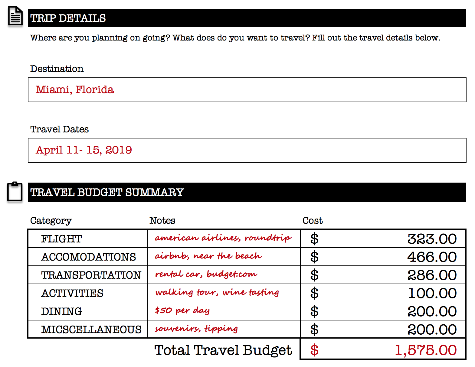 Travel Budget & Details - Simple Travel Budget