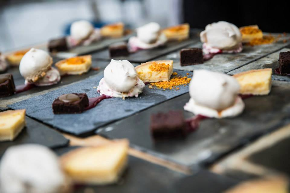 Trio of desserts at North Devon marquee wedding.jpg