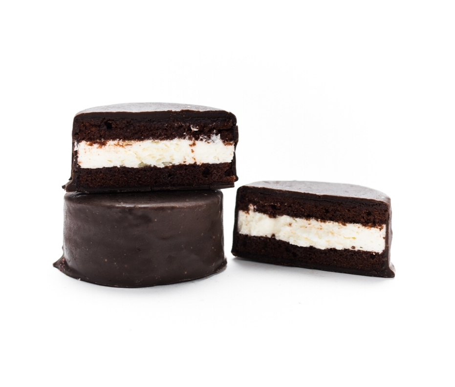 Classic Chocolate   Our artisanal rendition of the classic 1950s snack cake. Tasty vanilla cream filling sandwiched between luscious chocolate cake, frozen in time in a dark chocolate shell. The one that started it all!