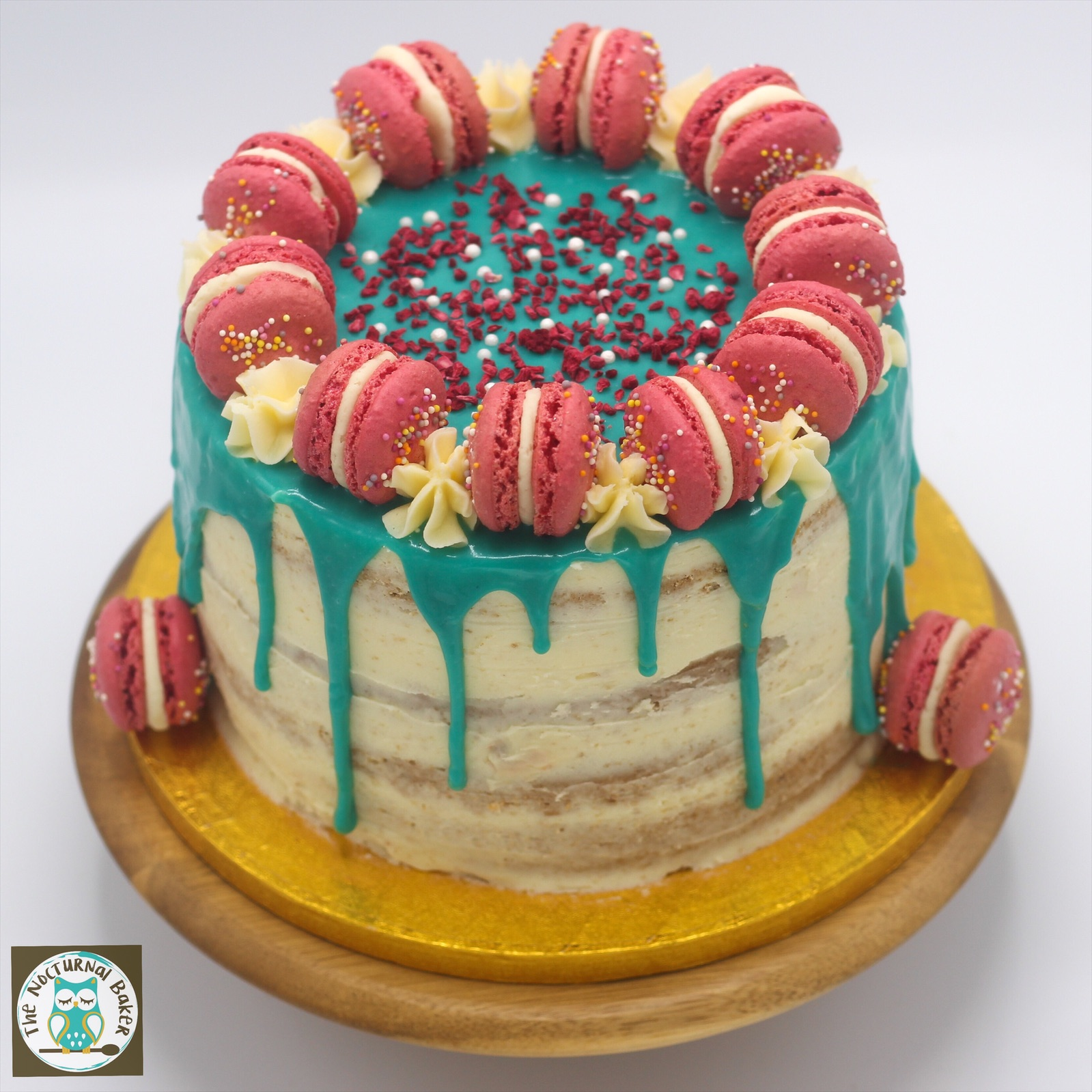"""Buttercream Ganache DRip Cake - 6"""" from £388"""" from £4110"""" from £4712"""" from £54Available in a range of flavours and any colour combination.Drip cakes include a minimum 4 inch tall, four layer, sponge cake topped with a ganache drip, presented on a cake drum and stored in a lidded cake box.You can top them with your favourite chocolates, lollipops, pic n mix or homemade macarons. Prices start from £10."""