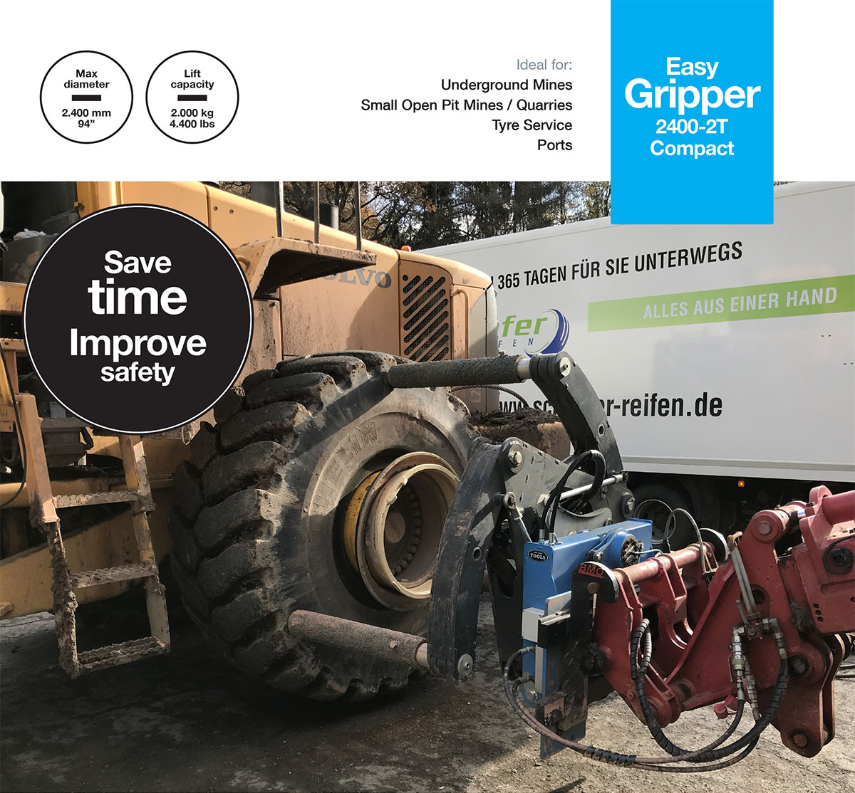Easy Gripper2400-2T Compact - Professional tools for handling of OTR/EM tyres up to 35