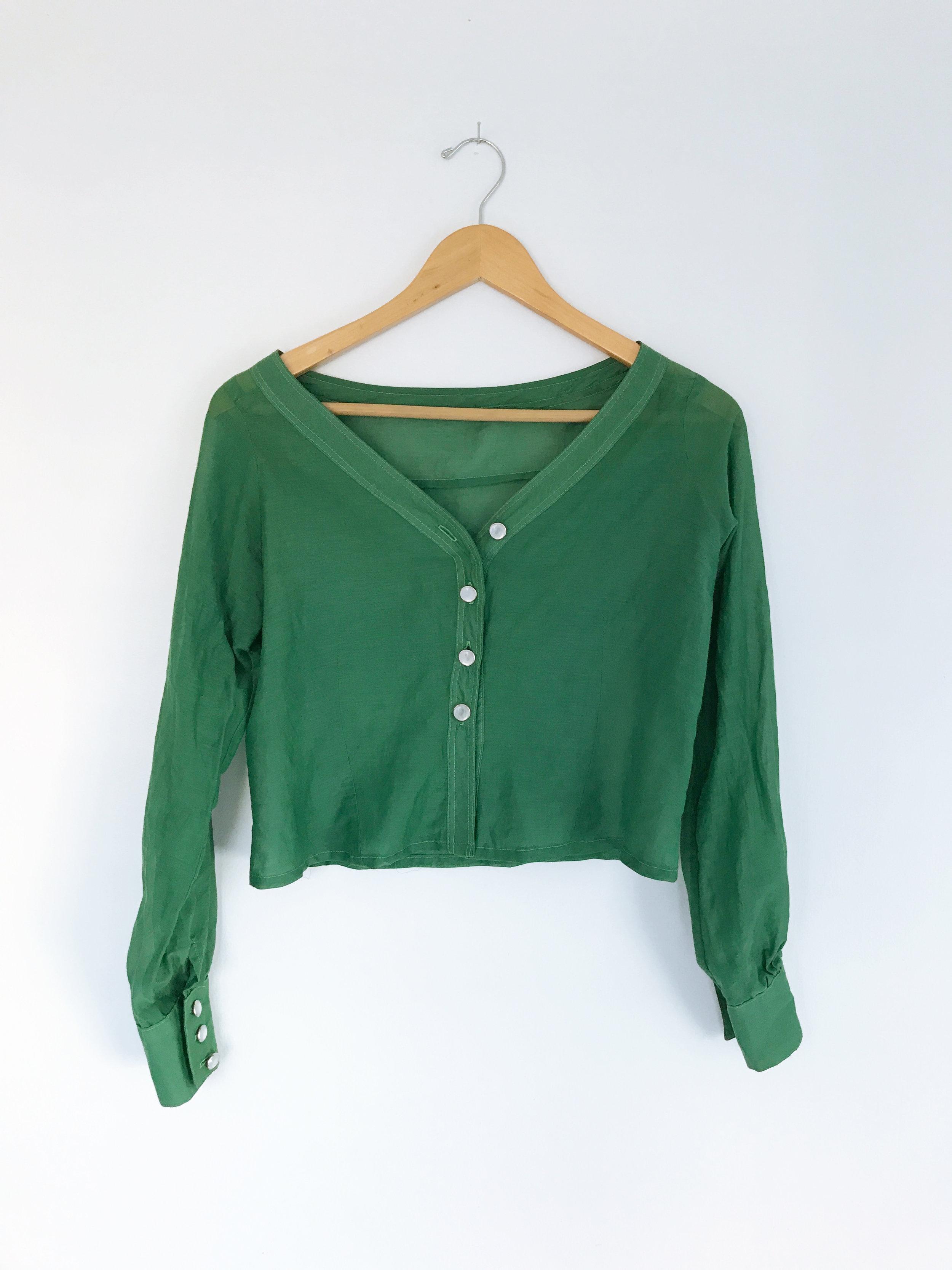 Custom Blouse for Angel Olsen - Materials: Sheer silk blend glass buttons
