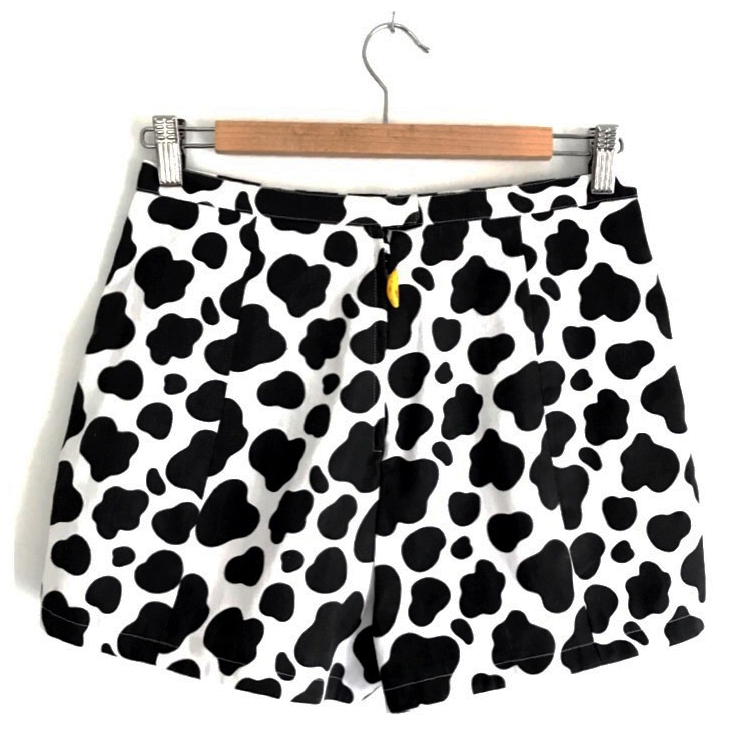 Reba's Cow Shorts with mini banana zipper pull, July 2018 - back view - Custom printed cotton twill fabric from spoonflower & custom made clay zipper pull by Emily Tomasik.