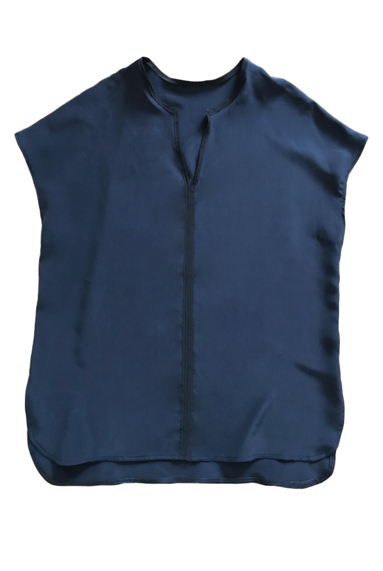 Navy Tunic Top, July 2018 - Custom Dyed silk blouse with black silk trim