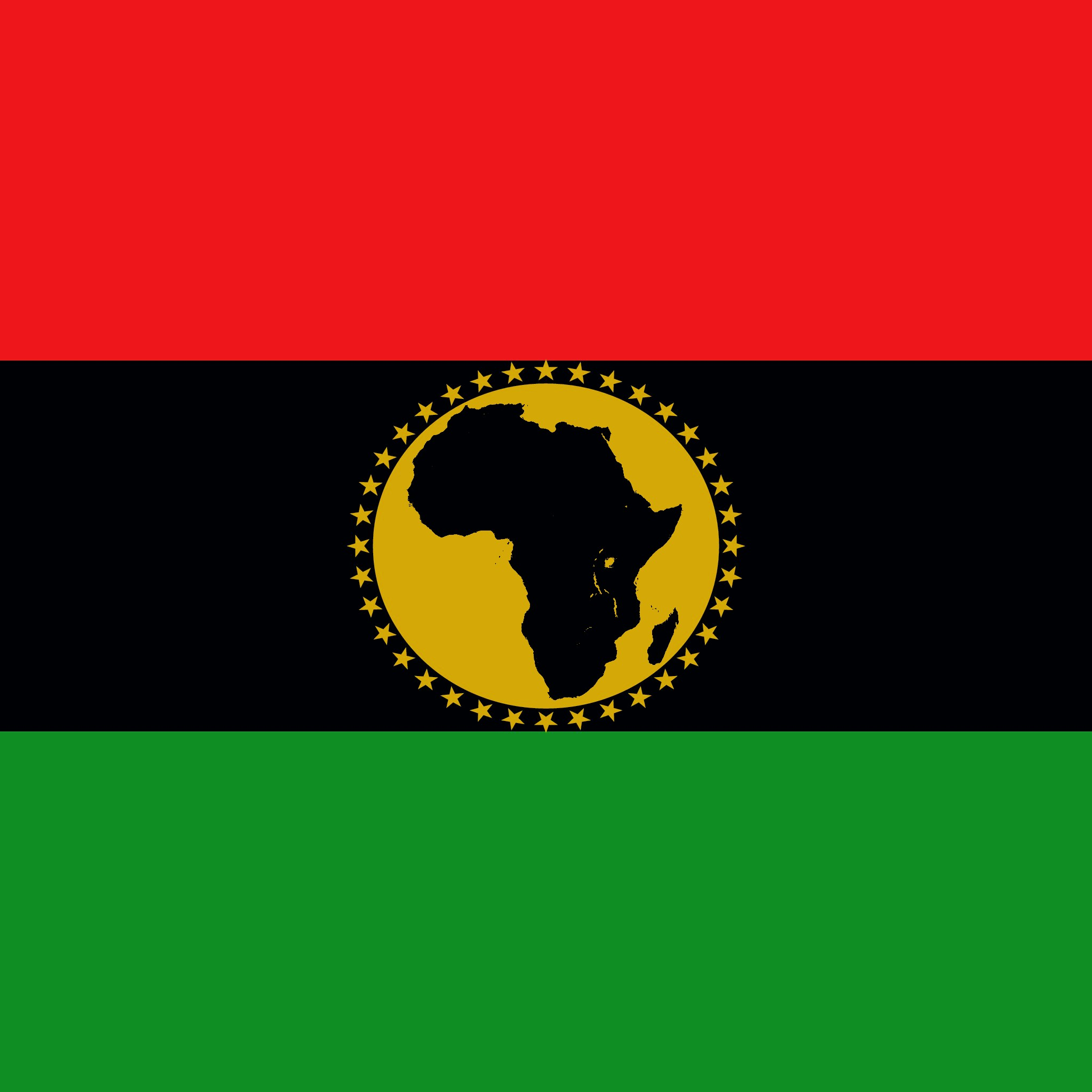 The PanAfricus Flag of Red Black and Green is embellished with a central, bright, yellow sun eclipsed by a darkened african continent in its core.  This flag represents our core values of upholding the path to innovation and creativity in the development of our continent.