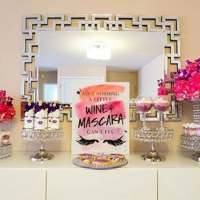 AIN'T NOTHING A LITTLE WINE AND MASCARA CAN'T FIX!!! 💜🍷🎉 #RoyalBashEvents #RoyalBashEventsNYC #CholeandKimmy #Eventplanner #EventplanningNYC #GirlsNight #WineNight #LadiesNight #Wine #Mascara #Sweettable #flowerarrangements #MoscatoBottles #Glasses #Mirror #Donutwall #Cookies #Lashes #Sweets #coveredstrawberries #Lashescake #pillow #diy #pinkandpurple
