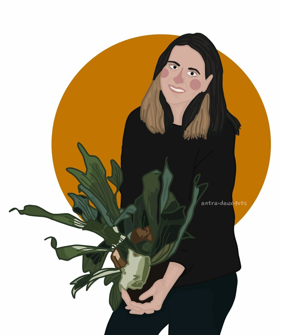 Genevieve Layman, and a four-year-old Staghorn Fern