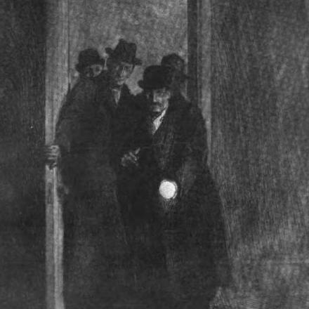 John Leverton  (centre) before Sherlock Holmes, Doctor John Watson and a London Constable (1885).