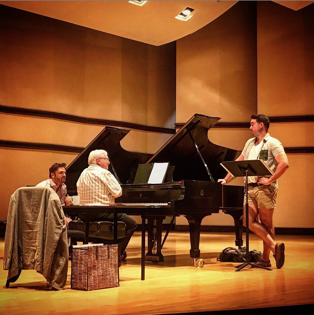 """Always a privilege observing the mastery of the one-and-only Graham Johnson...in deep discussion of Brahms """"Vier ernste Gesänge"""" with    Edward Cleary   .  📸  Javier Arrebola"""