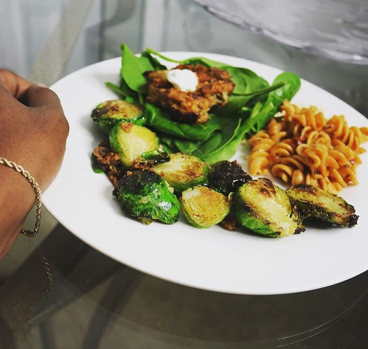 well with brielle  wellwithbrielle.com plant based recipes vegan recipes free recipes healthy and delicious recipes health and wellness free wellness resources get well wellbeing food brussel sprouts salmon cakes bean pasta lentil pasta