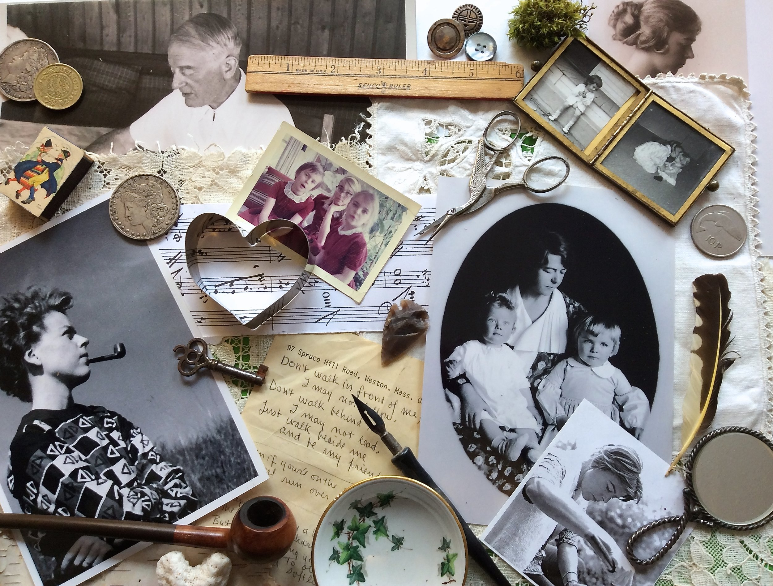 Collage with old photos and memorabilia