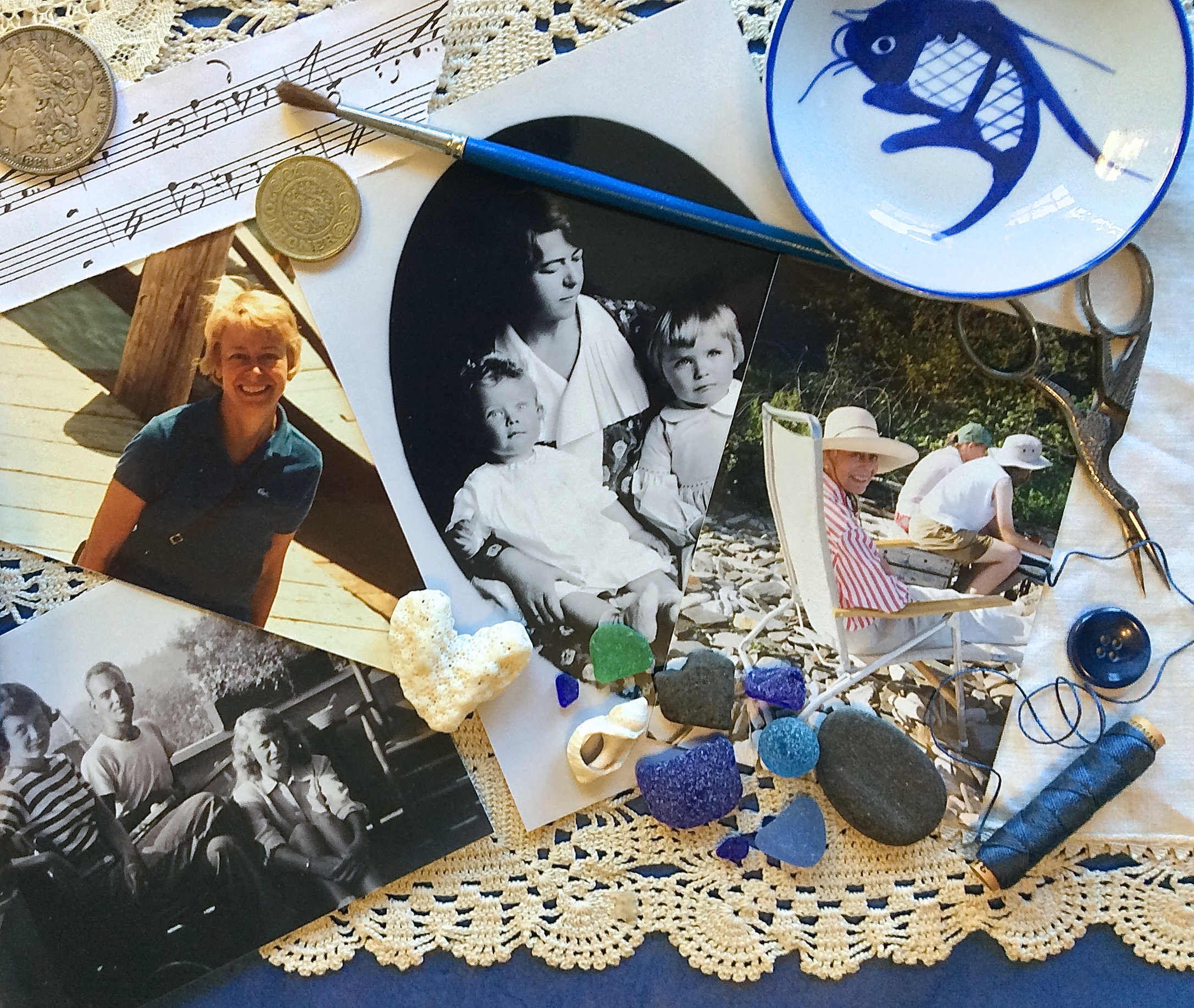 Collage of old photos and memorabilia