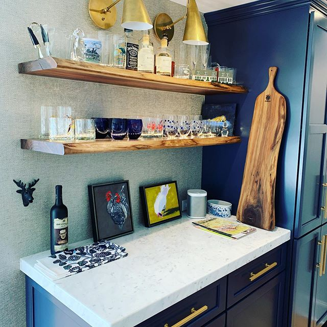 """#memorialdayweekend  My clients Bar came together Quite nicely!! The counters are #whitecarrara Miele Marble we selected from #Leamar with a 2"""" #miteredge #marble #floatingshelves #yorkmaine More pics to come!! Have a great weekend everyone!"""