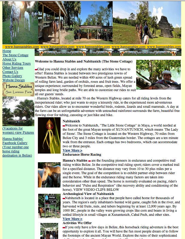Old Hanna Stables website