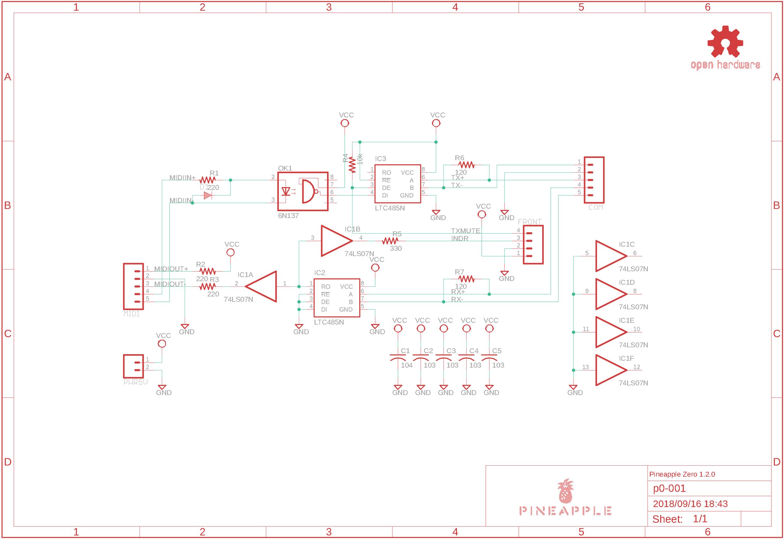Schematic of Pineapple Zero (prerelease version)