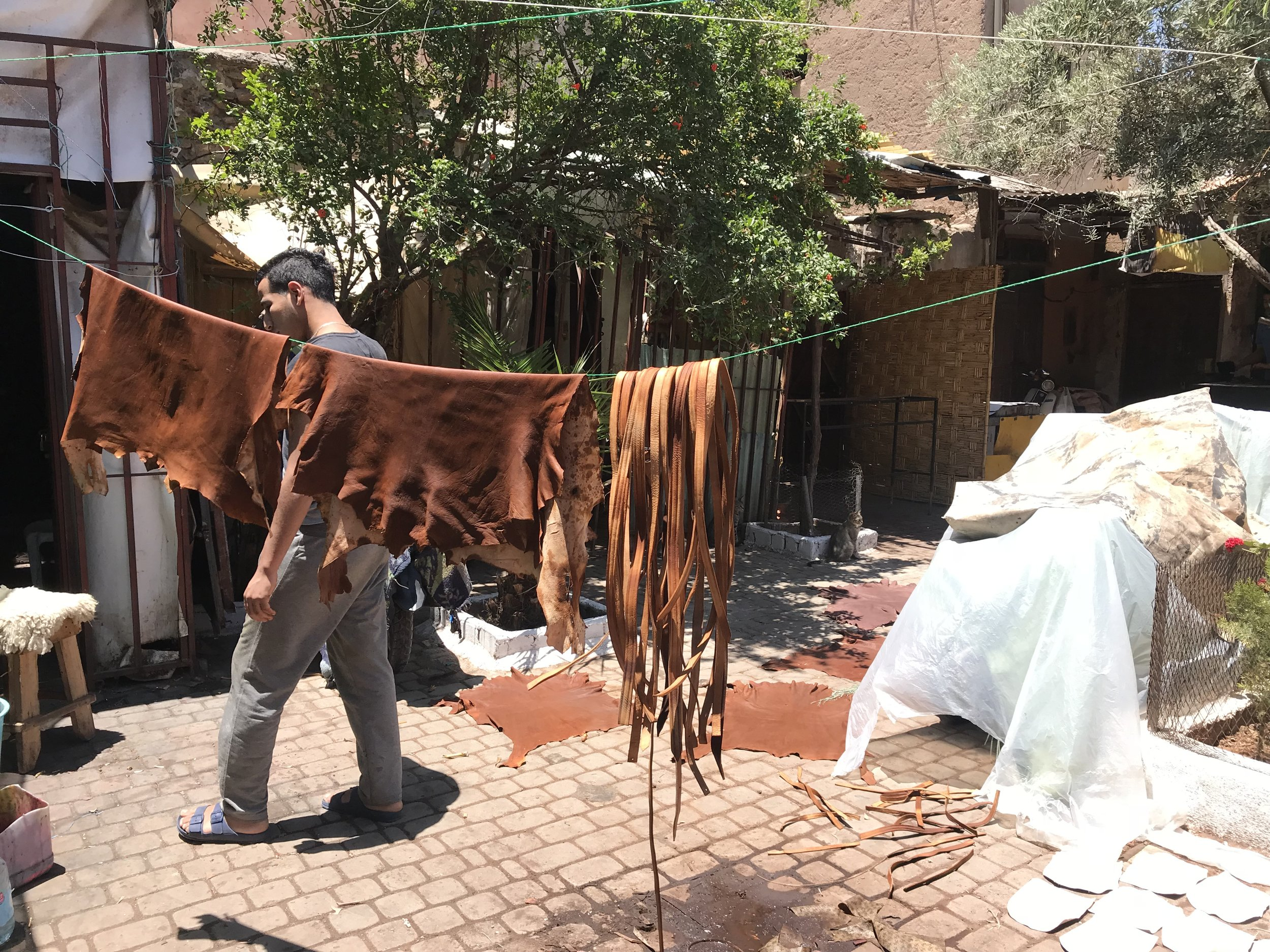 Drying the leather after tanning in the leather district.