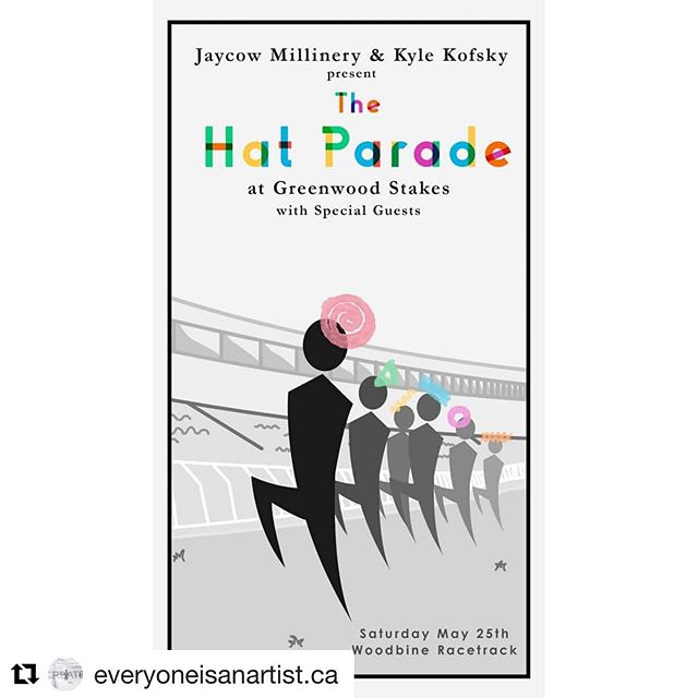 It's tomorrow !  Showing off beautiful hats and headdresses @greenwoodstakes  Join us for some Hatty Hat Fun .  #Repost @everyoneisanartist.ca with @get_repost ・・・ The @jaycow_milliner Hat Parade in collaboration with @kyle_kofsky and @everyoneisanartist.ca is a contemporary evolution of a traditional racing event past time, offering an immersive experience for guests. Jay Cheng the Official Milliner of @GreenwoodStakes leads the Style Stakes Nominees in a Hat Parade with special guests @saraphinaviolin @alex.trickoso @giio.jpg @emilydrewmcdonald @jonathan.miller.jr @summeryixuanyang - Poster by @jesusmazaphoto #hatparade #milliner #toronto #torontomilliner  #canadianmillinery #offtotheraces #greenwoodstakes