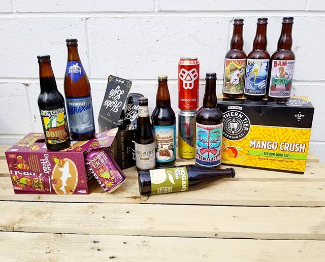 Guys. LOOK what we got! It's a Tuesday Brews-day smorgasbord 🍺  #truckdaytuesday #sour #cider #stout #ipa #saison #lager #ale #tuesdaybrewsday #pecanpie #allagash #saisondupont #jollypumpkin #smokedbeer #bisselbrothers #barrelaged