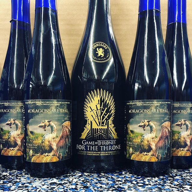 Ten days until the premier of Season 8 of @gameofthrones! We've got two brand-appropriate beverages for you from @breweryommegang and @bnektar - For The Throne and Dragons Are Real. Swipe and check out the flavor profiles...both are AWESOME-sounding! #gameofthrones