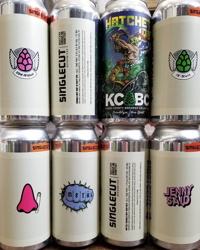 Fresh drop! KCBC Hatchet Job, and Singlecut DDH 18-Watt, Metäl!, Use The NME, 18-Watt, and Jenny Said. Swipe for close ups of the newbies!  #kcbc #kingscountybrewerscollective #hatchetjob #ddh #dipa #citrahops #amarillohops #simcoehops #singlecut #ipa #sessionipa #iipa #18watt #ddh18watt #metal! #singlecutmetal #metäl #usethenme #jennysaid