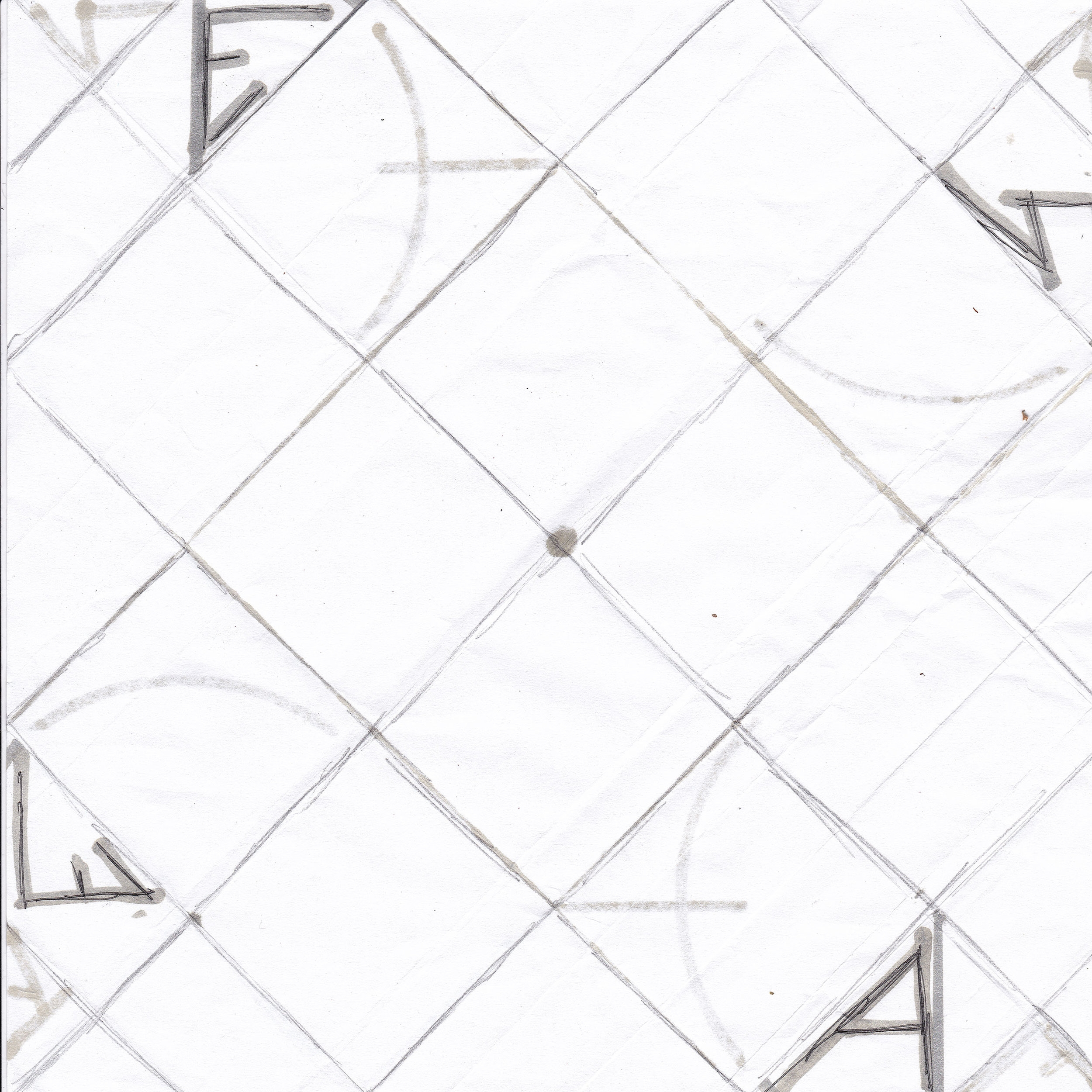 scanned image - Here I penciled in the folds and scanned the design front and back.