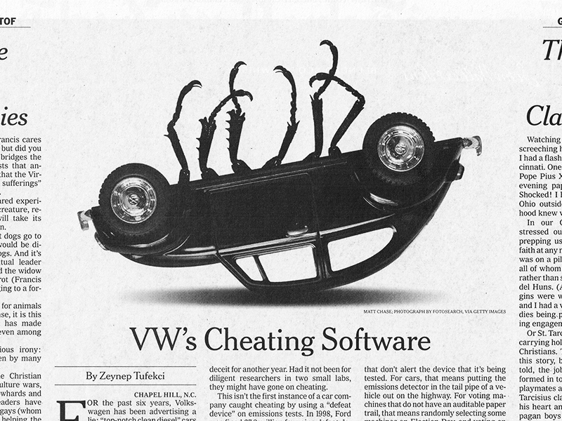 "A POWERFUL IMAGE, THE STYLE MOCKS THE ICONIC VW ""THINK SMALL"" AD (BELOW).    In this article , a dead beetle was the common consensus  for the September 25th New York Times, The story was about Volkswagen's dishonesty. Art direction by Matt Dorfman.   PRIMARY COLOR: white"