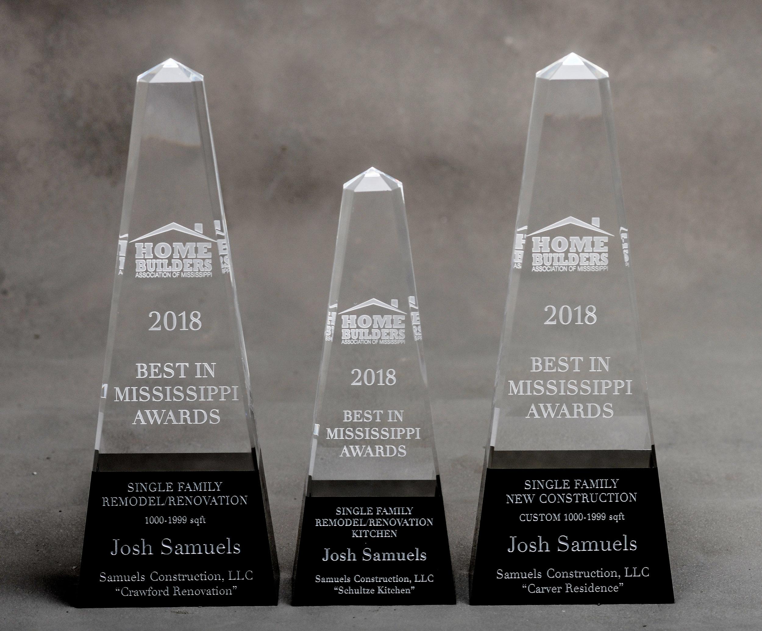 2018 Best in Mississippi Awards - WINNER:-Best Single Family Mid-Size Remodel -Best Single Family Kitchen Renovation-Best Mid-Size New Construction Custom Home