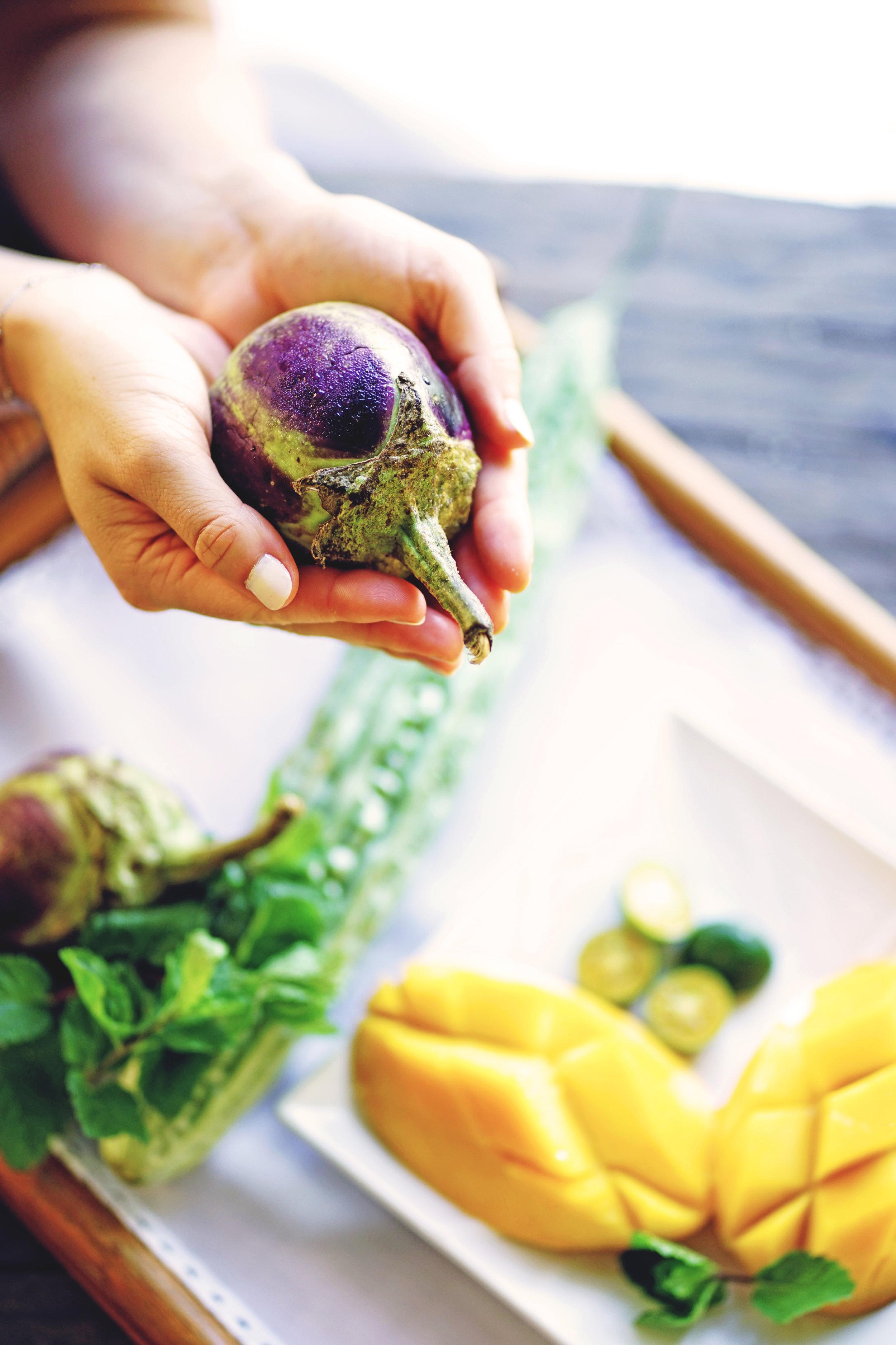 Local Cebuano organic eggplant, mint ampalaya & mango from  God's Grace Farm . Photo by  Jen Rimaz