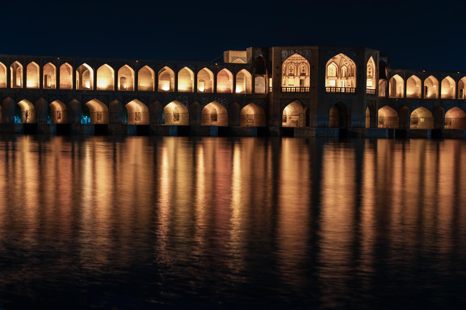 The Khaju bridge by night