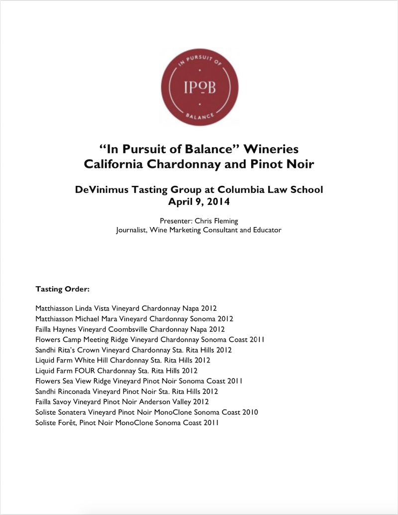 DeVinimus Tasting Group at Columbia Law School