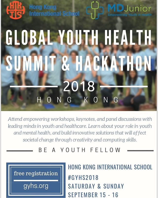 Calling all youth with a passion for healthcare and their community — join our second Global Youth Health Summit this September!  When: September 15-16  Where: Hong Kong International School  What: A summit and a hackathon (the first of its kind in Asia) focusing on spreading awareness and developing solutions in the field of Youth and Mental Health  Check out more at https://www.gyhs.org  Registration is now open at GYHS.org (Link in bio) We look forward to seeing you there!  #GYHS2018 #MDJrHacks