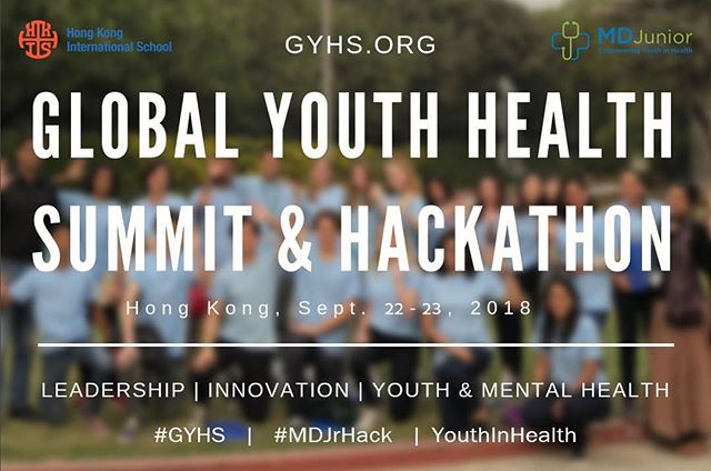 Approximately 1 in every 5 youth experiences a severe mental disorder at some point.(Source: WHO). Who better to lead the charge for youth mental health than youth themselves!  Global Youth Health Summit & Hackathon 2018  powered by #MDJunior at #HKIS, Hong Kong. #Leadership #Innovation #YouthMentalHealth  Join this Global Movement #GYHS   #YouthInHealth   MDJunior's first #Hackathon event of its kind in Asia #MDJrHack  Sept. 22-23, 2018    Calling Youth, Parents, Families, Friends, Mentors and the Global community!! Register at GYHS.org