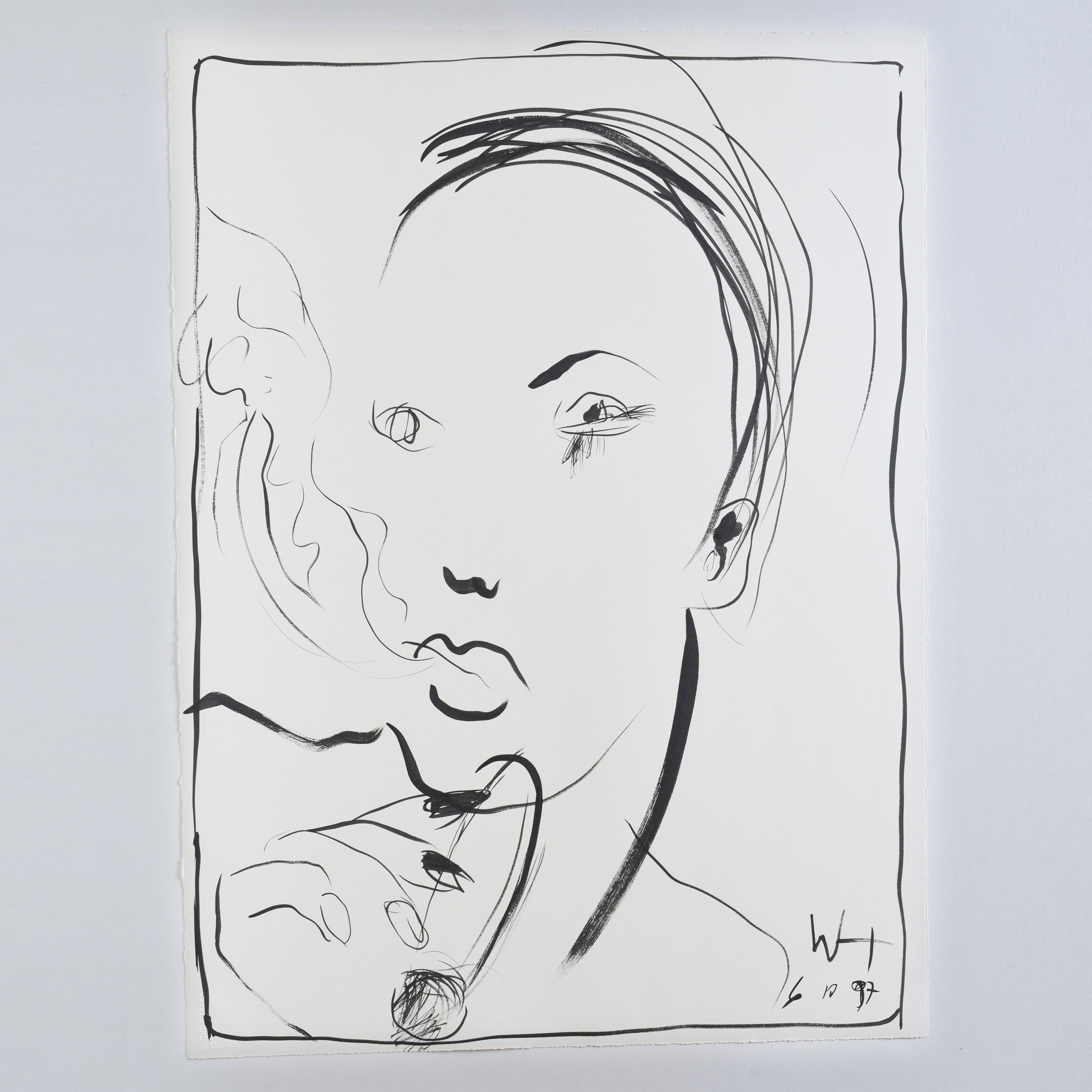 Line drawing of a person smoking using brush pen and ink on art paper