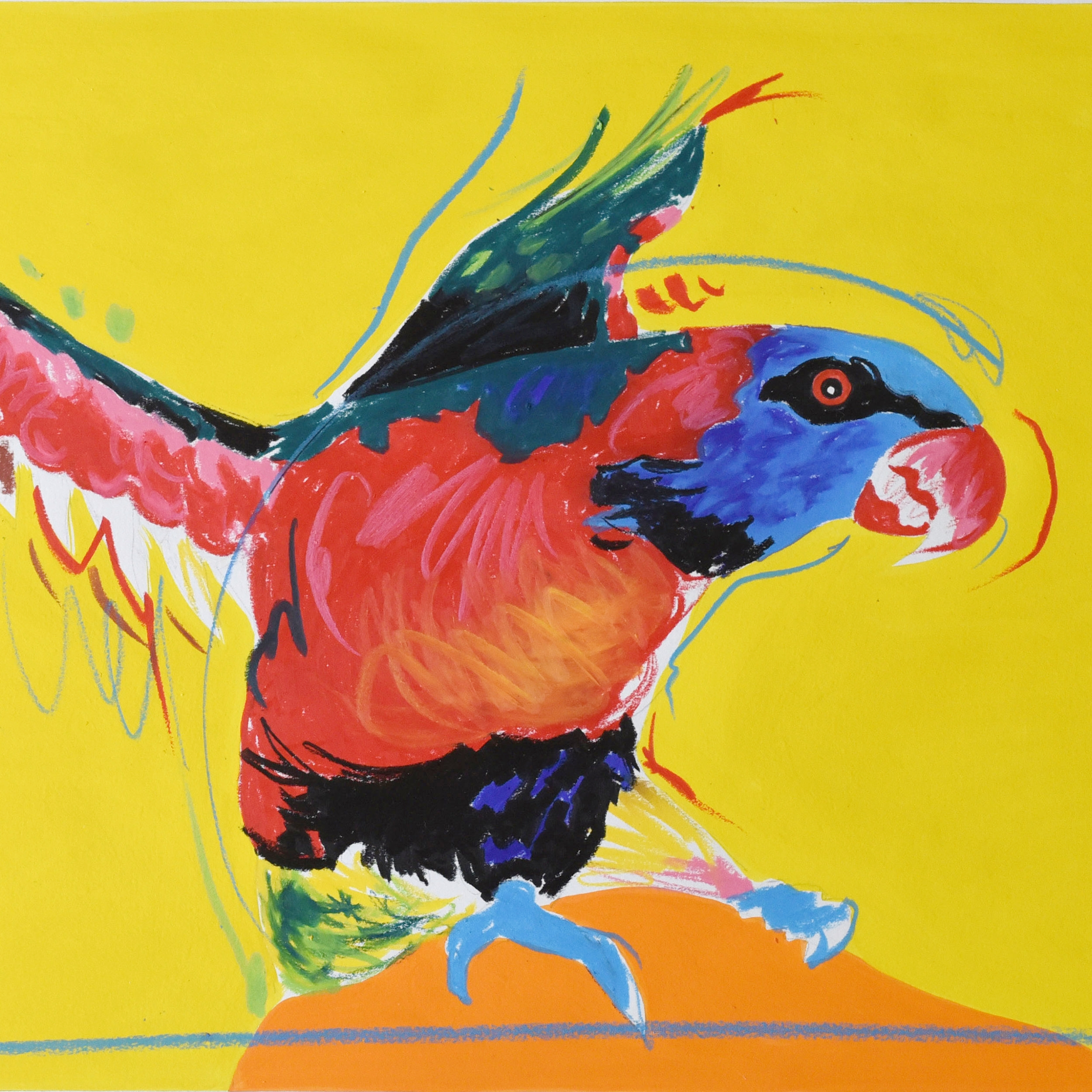 Painting of a Rainbow lorikeet using wax pencil and acrylic on art board