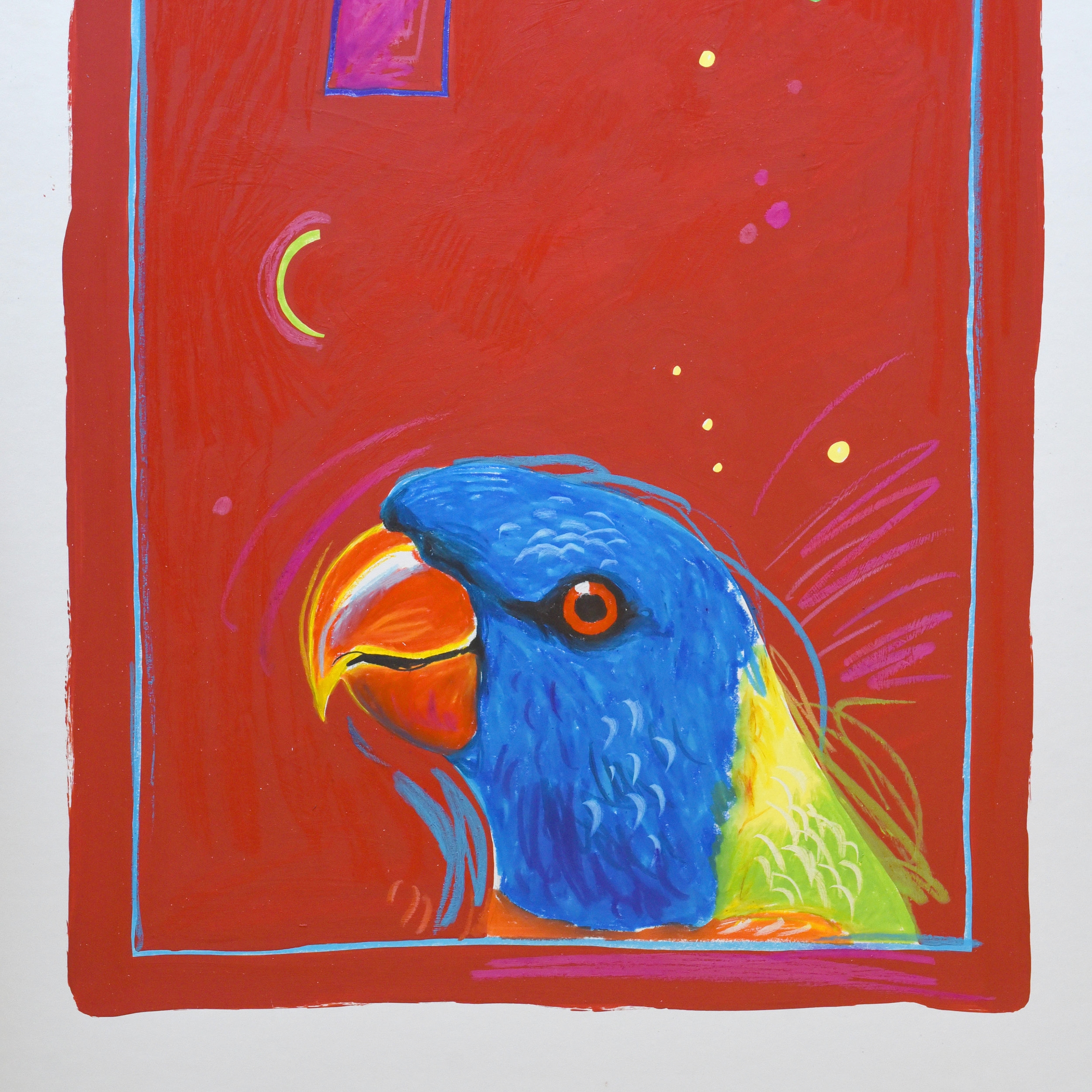 Painting of a Rainbow lorikeet head using wax pencil and acrylic on art board