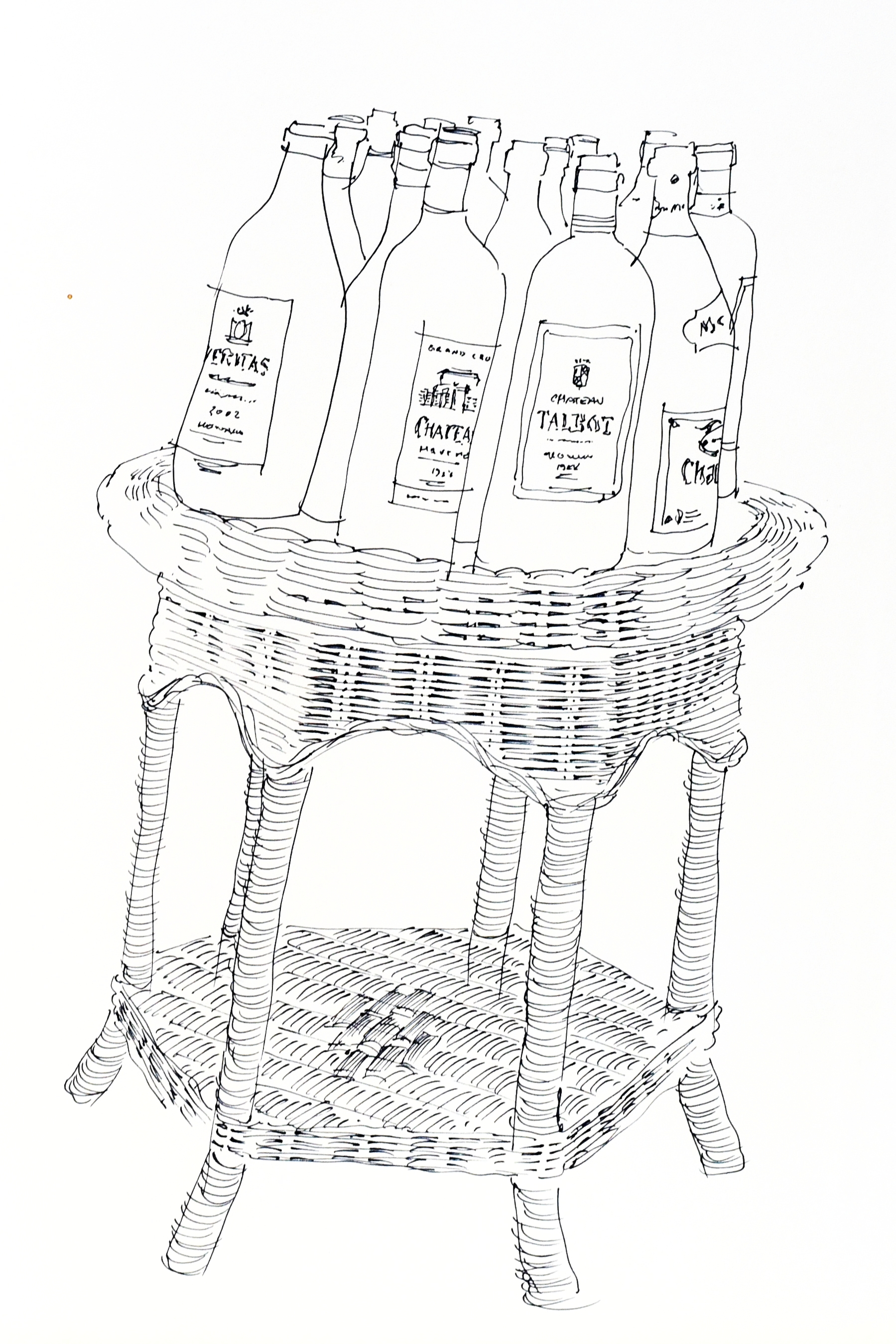 Line drawing of bottles of alcohol on a table