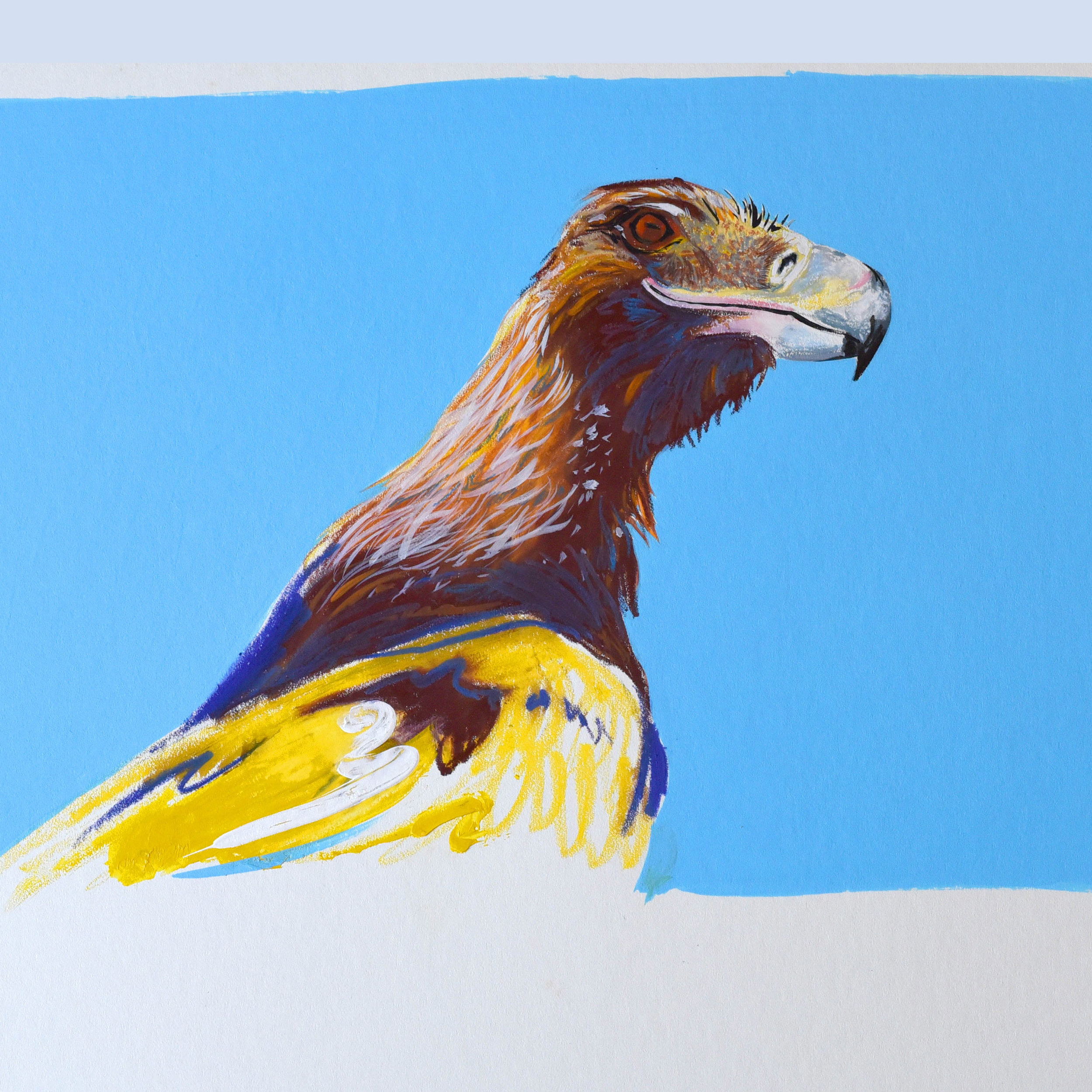 Painting of an eagle using wax pencil and acrylic on art board