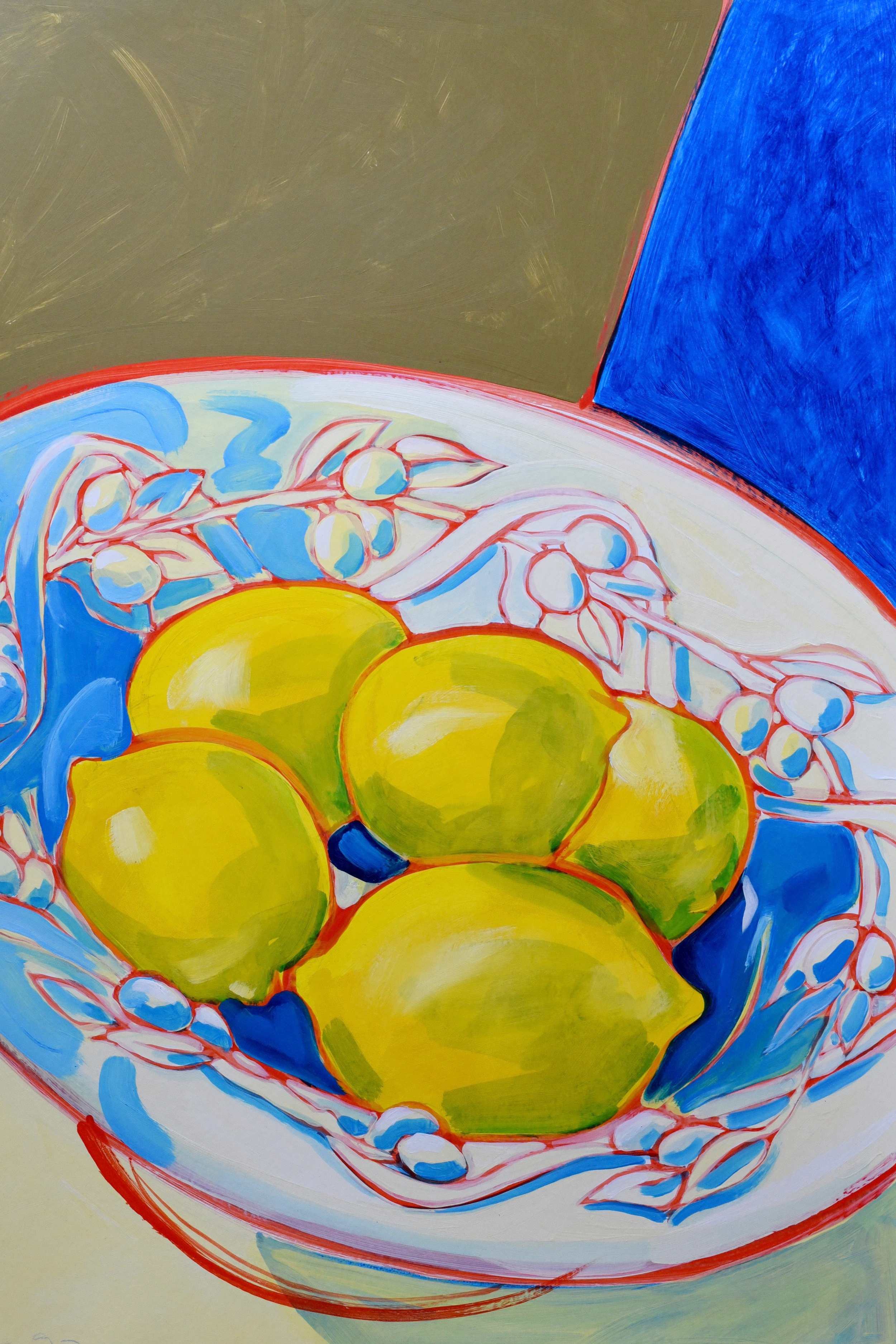 Lemons in olive harvest bowl using acrylic paint on art board