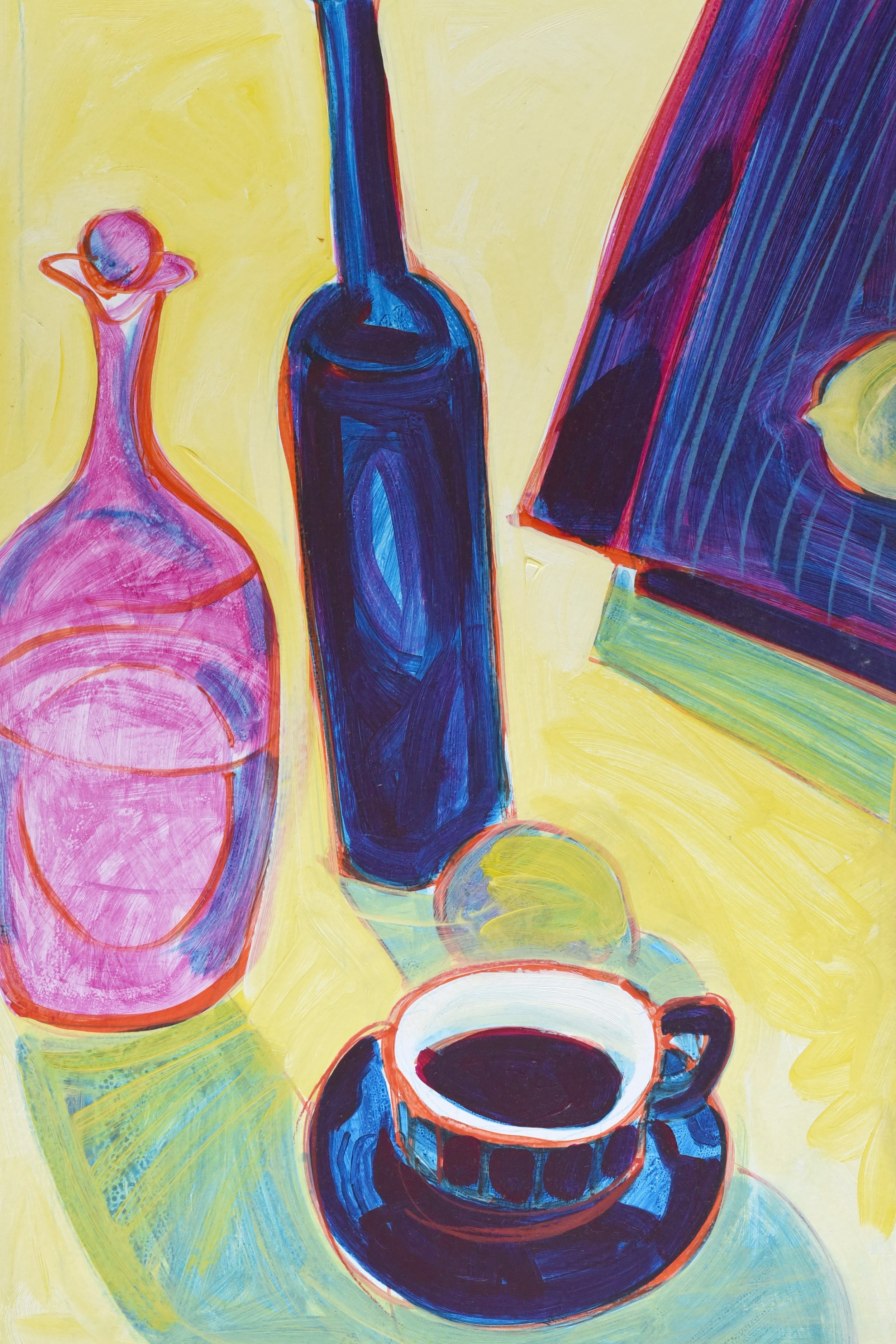 Still life of coffee and bottles