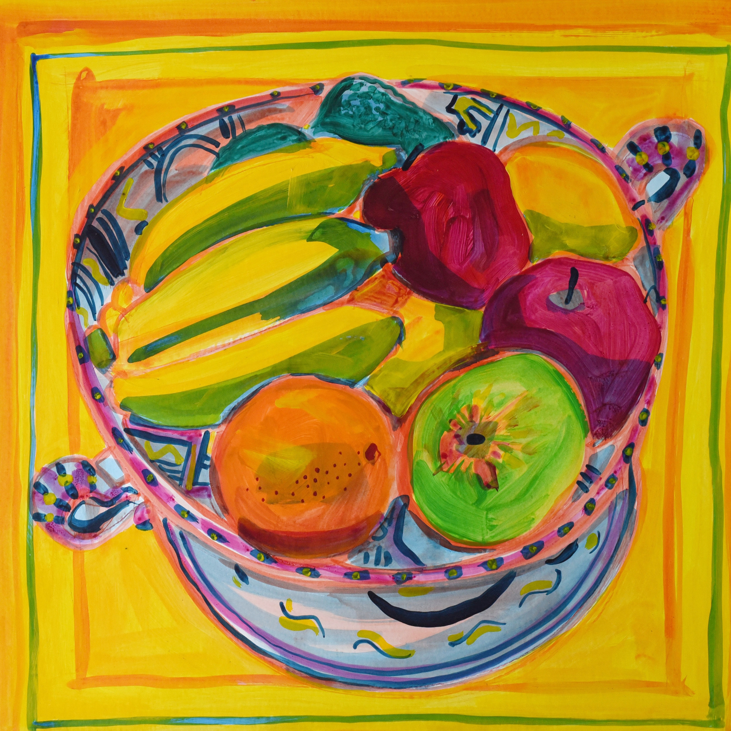 Still life of fruit bowl with a yellow background using acrylic paint