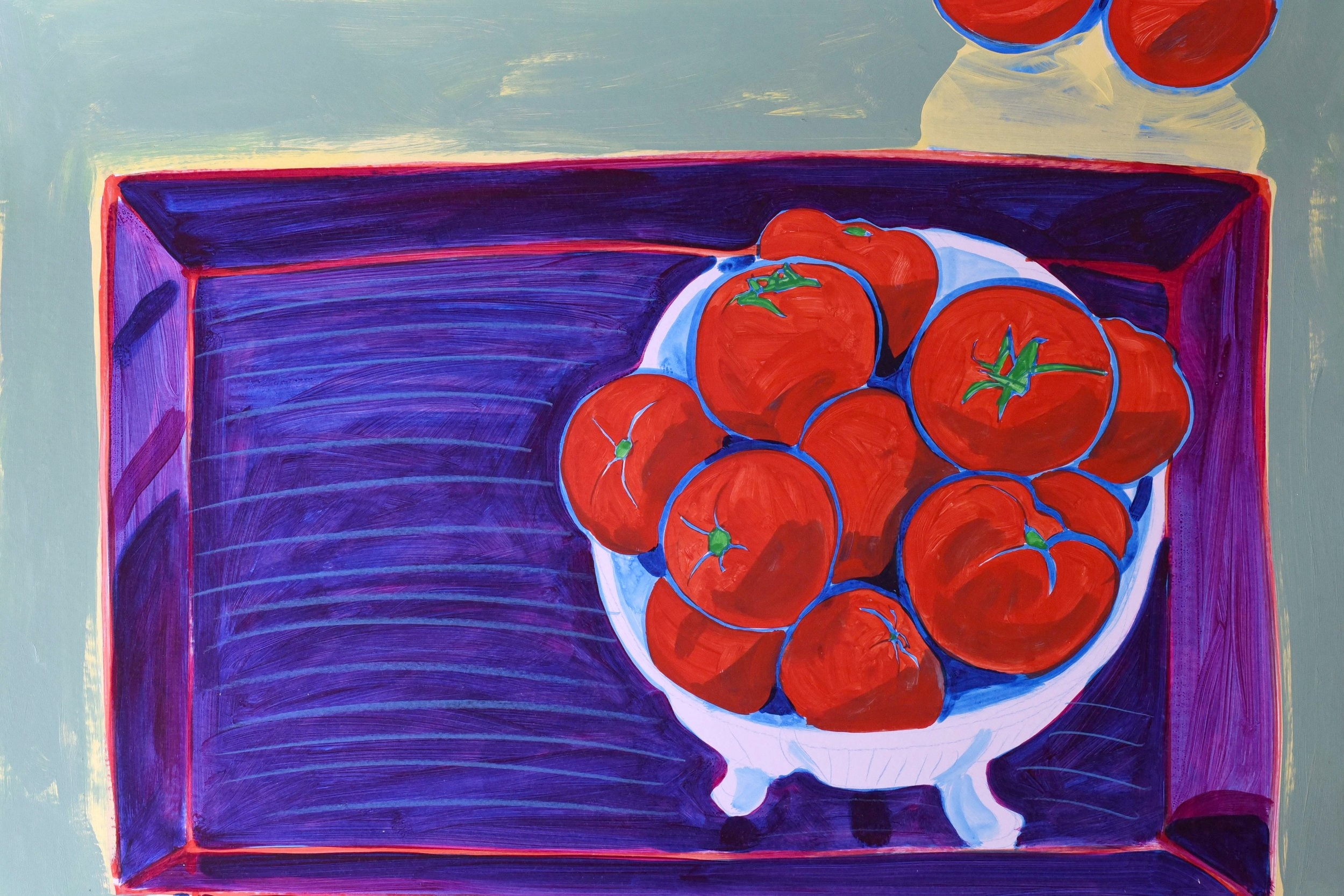 Still life of tomatoes in a bowl with ultramarine background on a lacquered tray