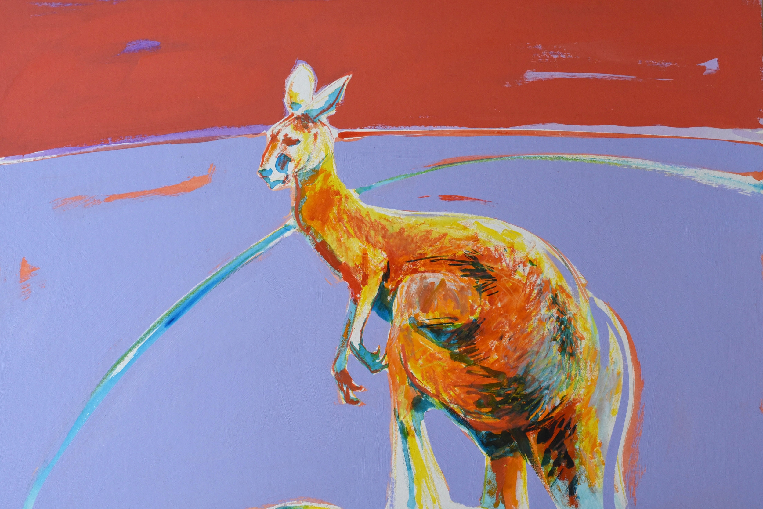 Acrylic and wax pencil artwork of Australian Big Red kangaroo