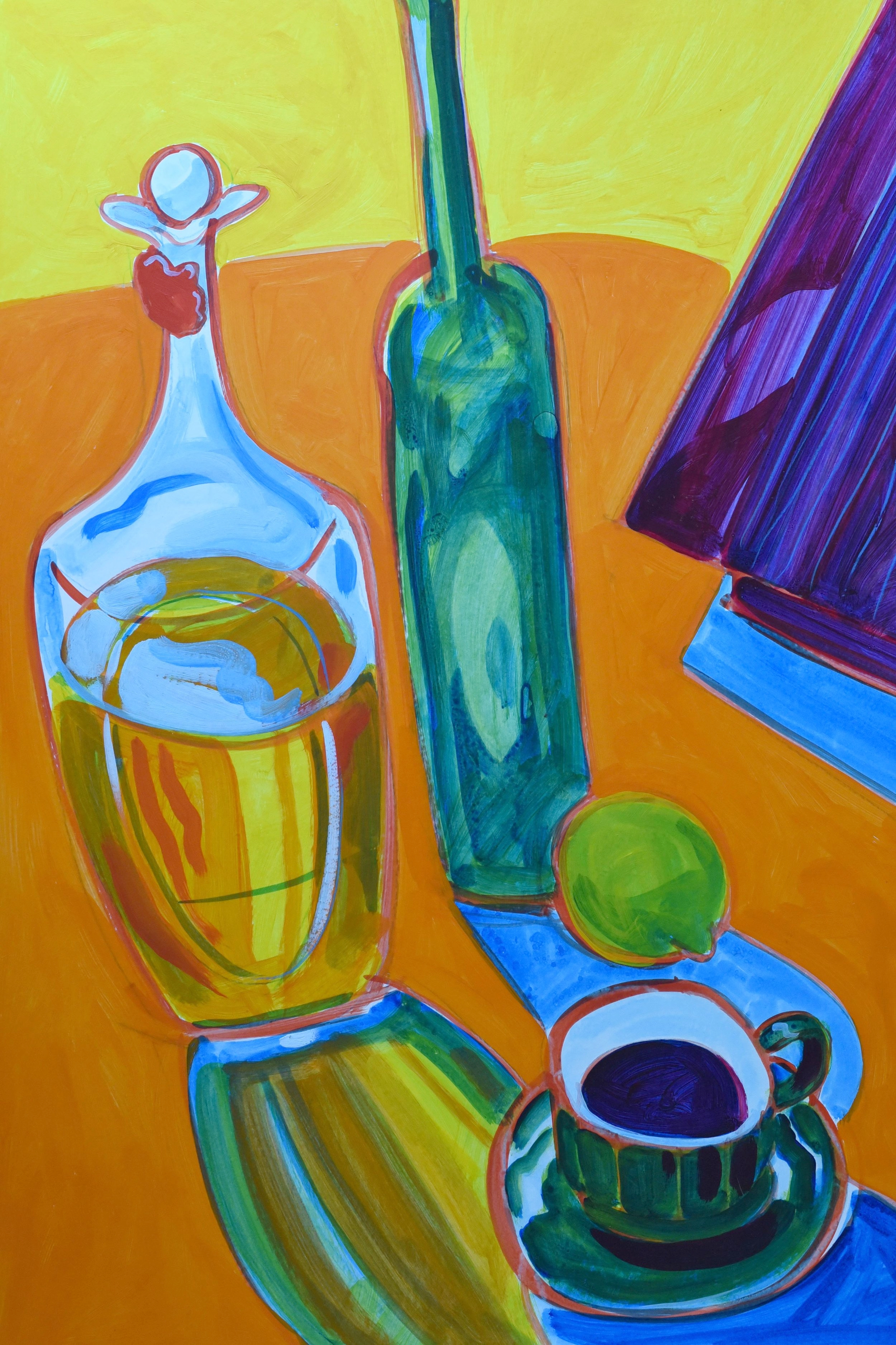 Acrylic painting of still life of olive oil and a morning coffee