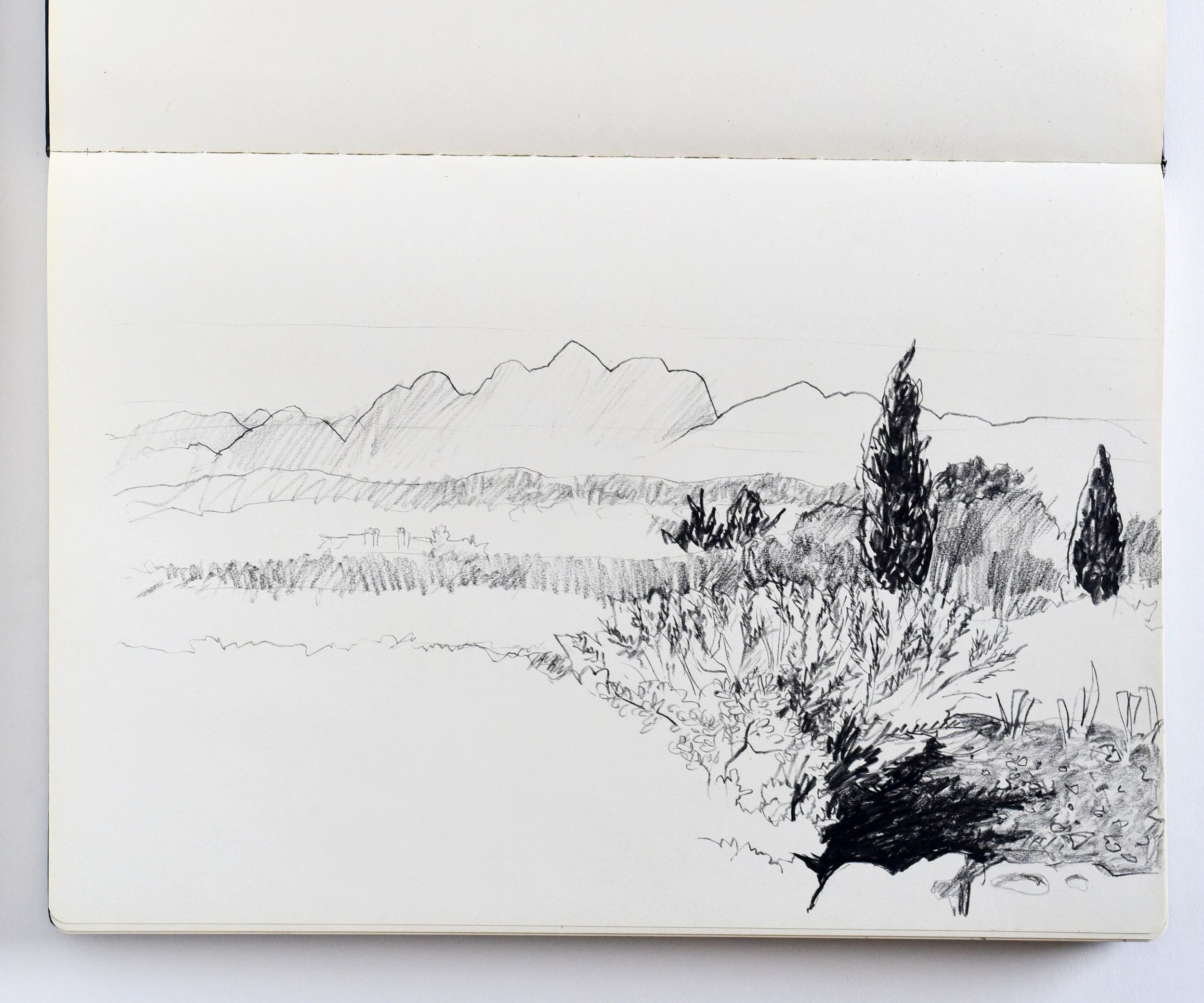 Drawing of view of Alpilles in Saint-Rémy-de-Provence