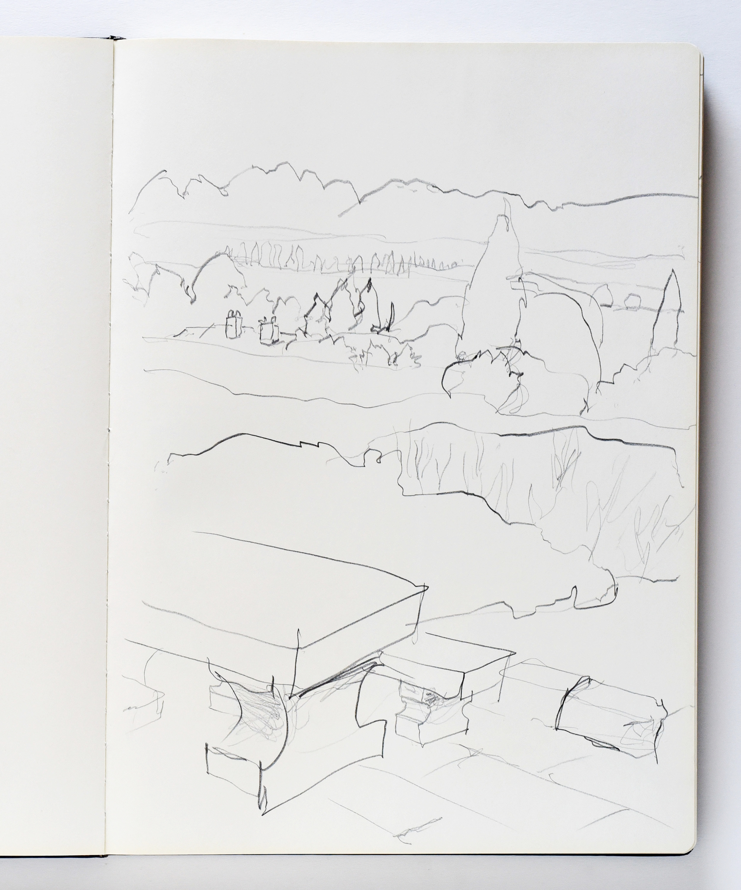 Line drawing using pencil of the view from Mas in Saint-Rémy-de-Provence