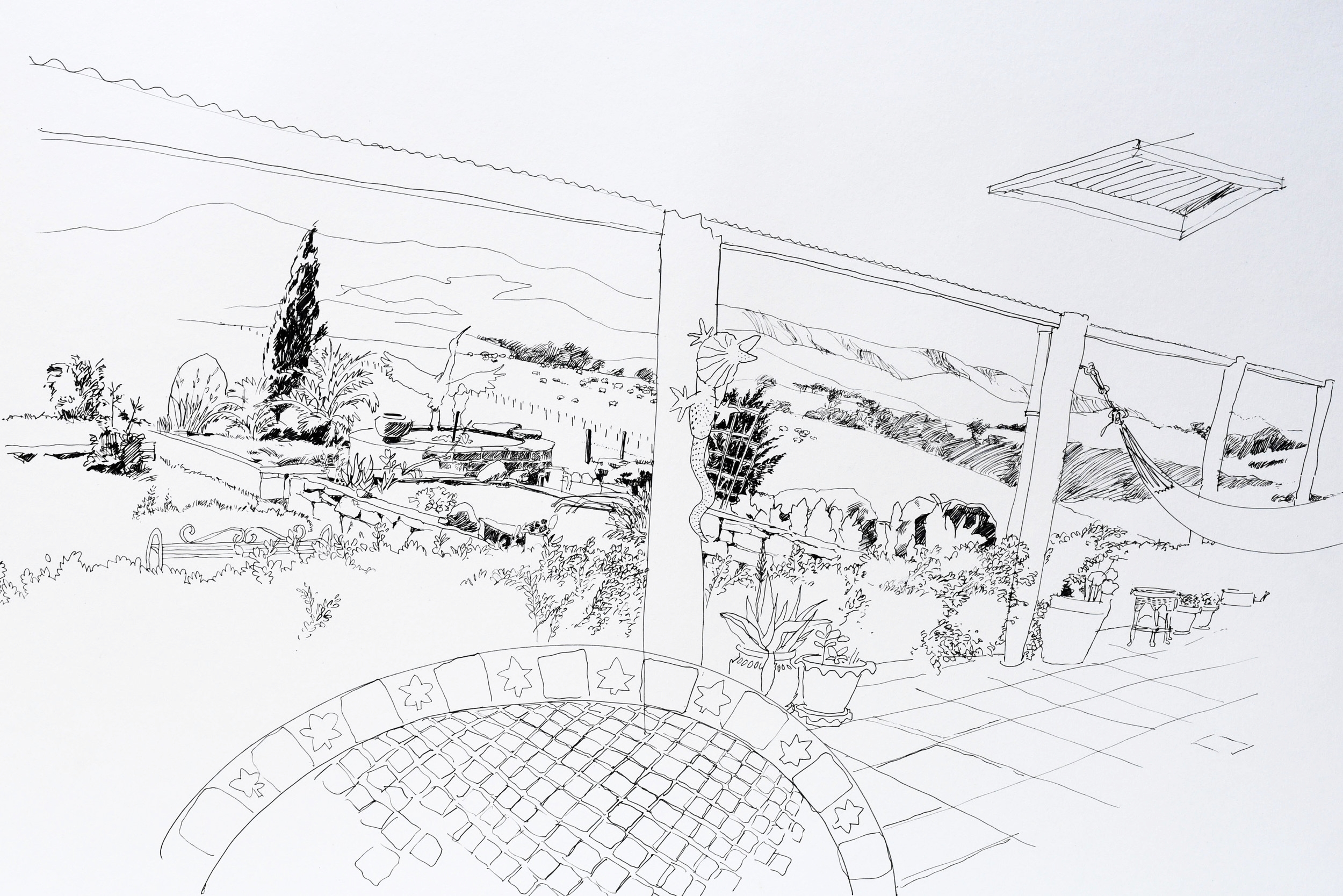 Line drawing of the view and landscape of Castagna Vineyard in Victoria Australia