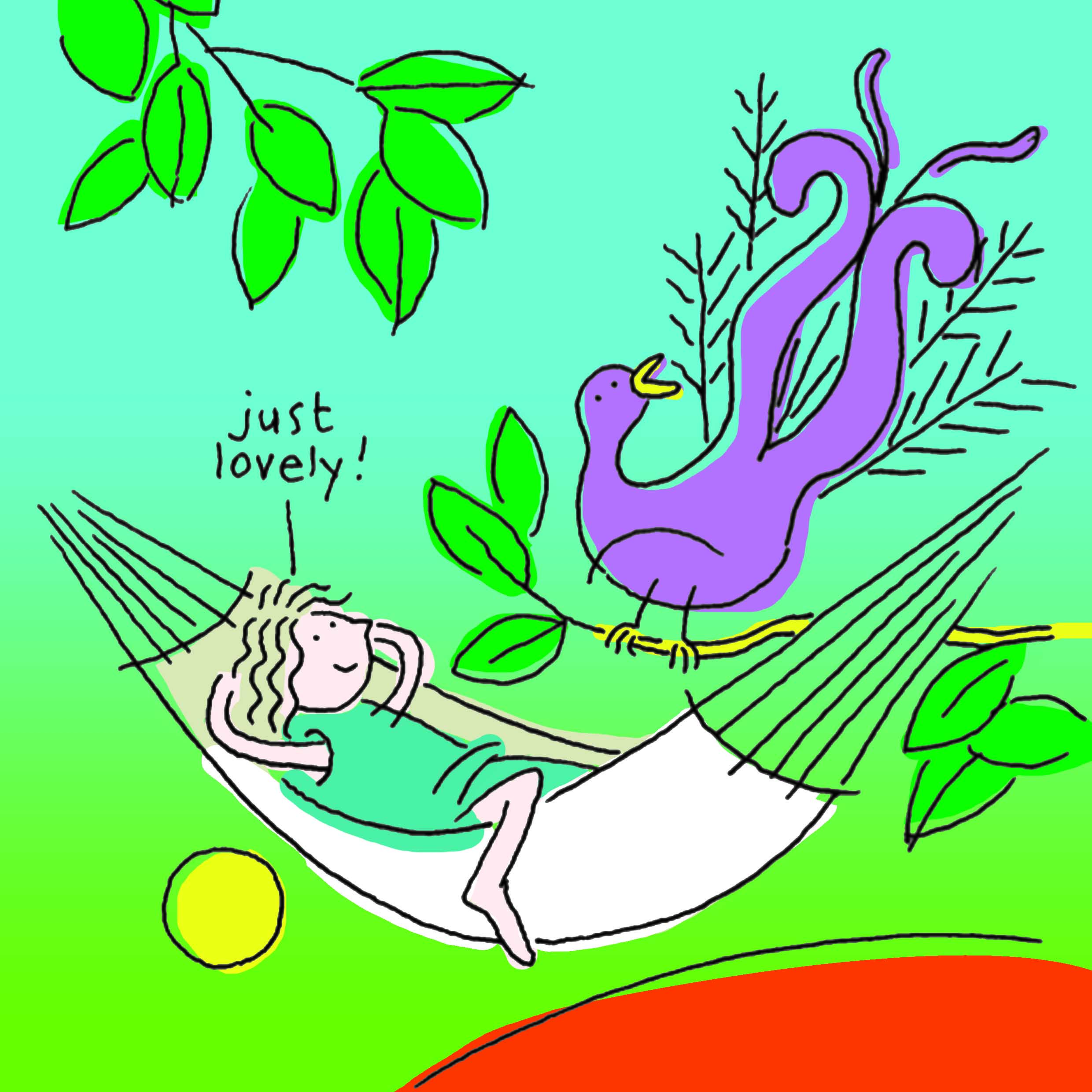 Children's book illustration with a peacock and hammock.
